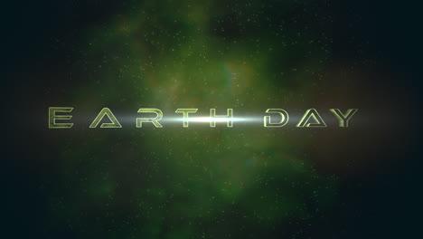 Animación-Closeup-Texto-Del-Día-De-La-Tierra-Con-Luces-De-Neón-De-Movimiento-En-Galaxia