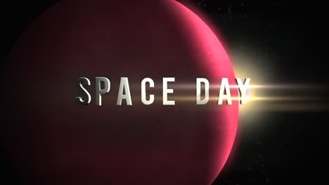 Animation-closeup-Space-Day-text-with-cinematic-motion-planet-and-stars-in-space