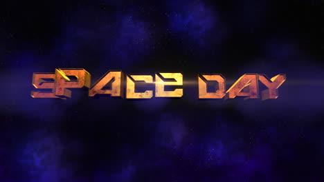 Texto-Del-Día-Del-Espacio-De-Primer-Plano-De-Animación-Con-Luces-De-Neón-De-Movimiento-En-Galaxia