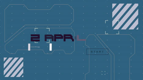 Animation-closeup-text-on-dashboard-with-futuristic-shapes