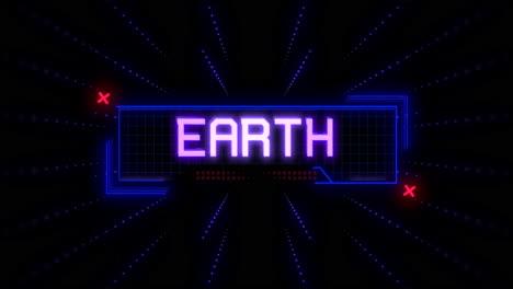 Animación-Closeup-Texto-Del-Día-De-La-Tierra-En-Pantalla-Futurista-De-Neón-Con-Líneas-Abstractas-Y-Comienza-En-Galaxia