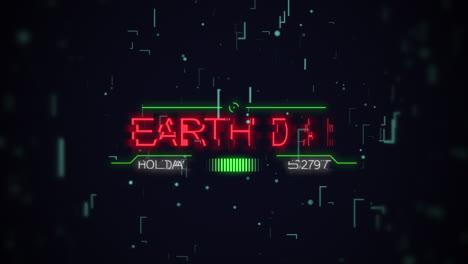 Animación-Closeup-Texto-Del-Día-De-La-Tierra-En-Una-Pantalla-Futurista-De-Neón-Con-Líneas-Abstractas-Y-Placa-Base-De-Neón
