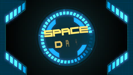 Animation-closeup-Space-Day-text-on-neon-futuristic-screen-with-abstract-shapes-1