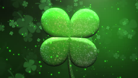 Animation-motion-big-and-small-green-shamrocks-with-glitters-and-sparkles-on-Saint-Patrick-Day-shiny-background