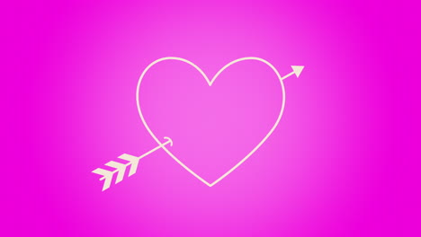 Animated-closeup-romantic-heart-with-arrow-on-pink-Valentines-day-background