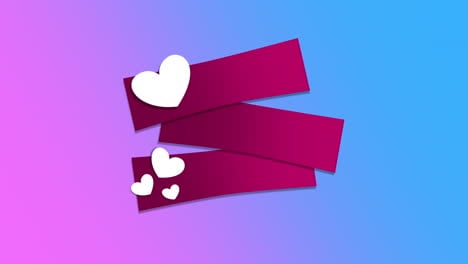 Animated-closeup-romantic-white-small-hearts-and-ribbons-on-purple-Valentines-day-background-