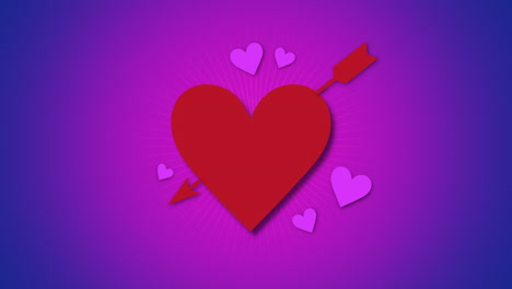 Animated-closeup-romantic-red-big-heart-with-arrow-on-purple-Valentines-day-background