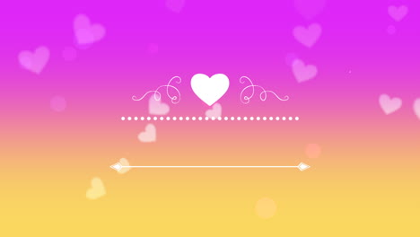 Animated-closeup-romantic-purple-hearts-with-frame-on-Valentines-day-background-