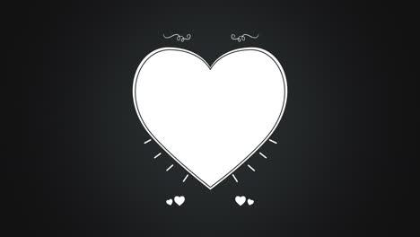 Animated-closeup-romantic-white-big-heart-on-black-Valentines-day-background-