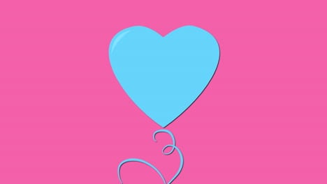 Animated-closeup-ballon-romantic-blue-heart-on-pink-Valentines-day-background