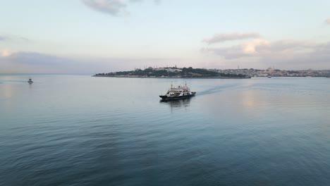 Aerial-Drone-Ferryboat-Traveling-Bosphorus-Istanbul