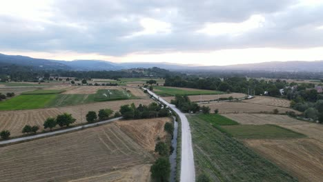 Aerial-Drone-Shot-Rural-Road-Village