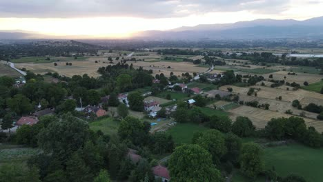 Aerial-Drone-Rural-Village-Sunset