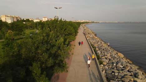 Gente-Costera-Caminando-Drone-Aéreo