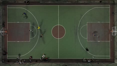 Drone-Shot-Young-Mens-Playing-Basketball