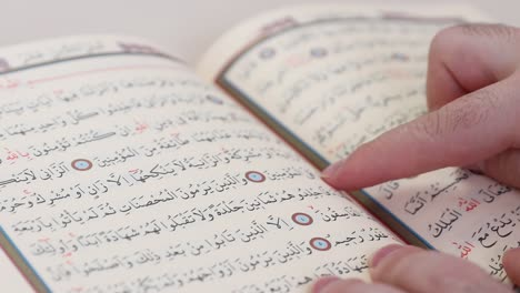 Reading-Quran-In-Mosque-With-Finger