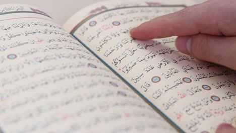 Man-Uses-Finger-to-Read-Words-In-The-Quran