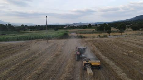 Hay-Baler-In-Field-Aerial-Drone