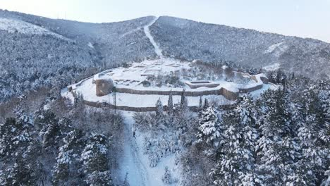 Aerial-View-Historical-Castle-Snowing
