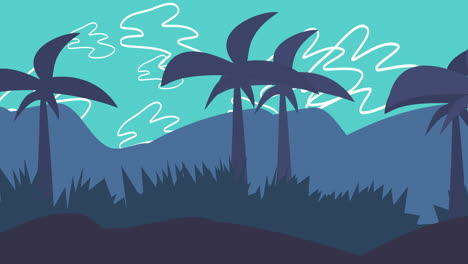 Cartoon-animation-background-with-palms-in-mountain