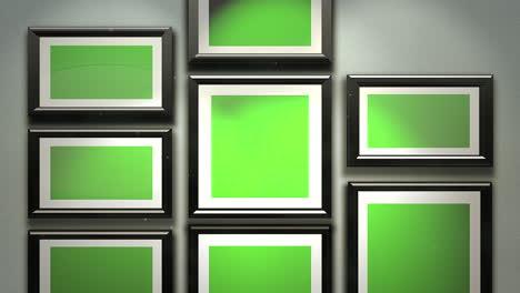 Cámara-De-Movimiento-En-La-Galería-De-Arte-Con-Imagen-Y-Marco-Moderno-Con-Pantalla-De-Maqueta-Verde-1
