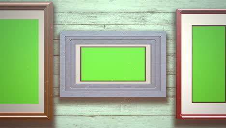 Cámara-De-Movimiento-En-La-Galería-De-Arte-Con-Imagen-Y-Marco-Moderno-Con-Pantalla-De-Maqueta-Verde-3