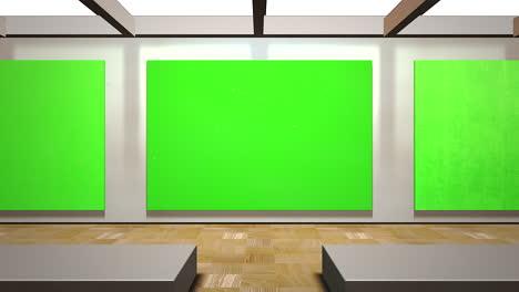 Cámara-De-Movimiento-En-La-Galería-De-Arte-Con-Imagen-Y-Marco-Moderno-Con-Pantalla-De-Maqueta-Verde