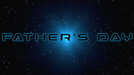 Animation-closeup-Fathers-Day-text-with-neon-blue-rays-in-galaxy