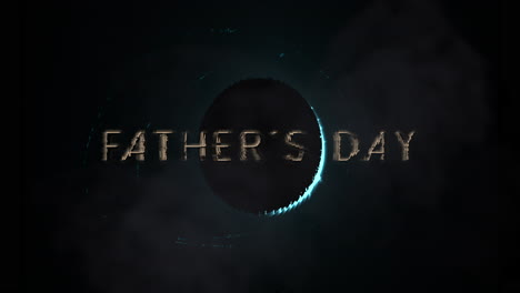 Animation-closeup-Fathers-Day-text-with-planet-with-glitters-in-galaxy-1
