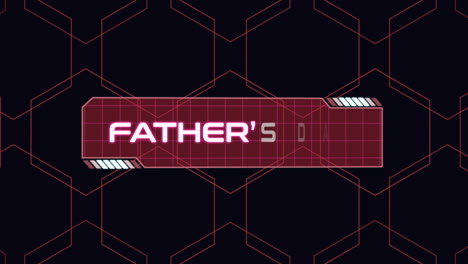 Animation-closeup-Fathers-Day-text-with-neon-futuristic-screen