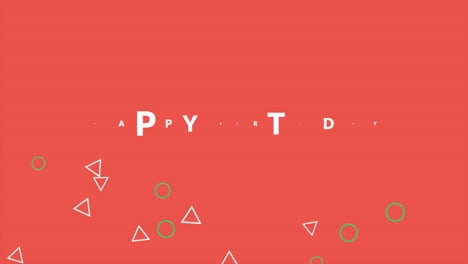 Animation-text-Happy-Birthday-on-red-fashion-and-minimalism-background-with-geometric-small-triangles
