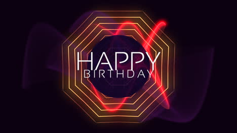 Animation-text-Happy-Birthday-and-motion-abstract-red-neon-lines