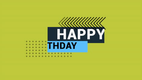 Animation-text-Happy-Birthday-on-yellow-fashion-and-minimalism-background-with-small-geometric-shapes