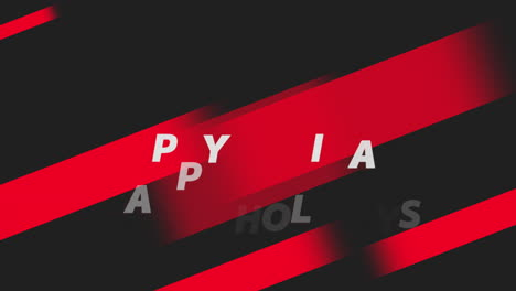 Animation-text-Happy-Holidays-on-black-fashion-and-minimalism-background-with-geometric-red-stripes