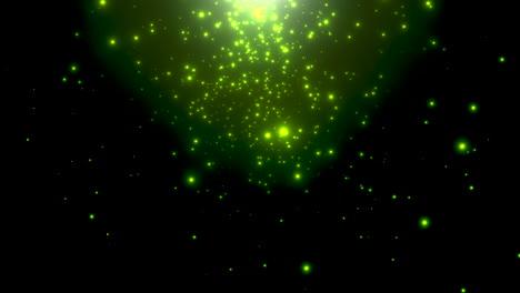Bewegung-Grüne-Partikel-und-Sterne-In-Galaxie-2