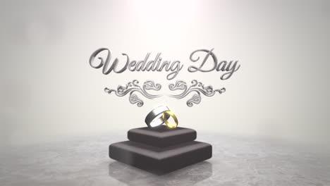 Nahaufnahmetext-Hochzeitstag-Und-Ringe-Der-Liebe-Am-Hochzeitstag