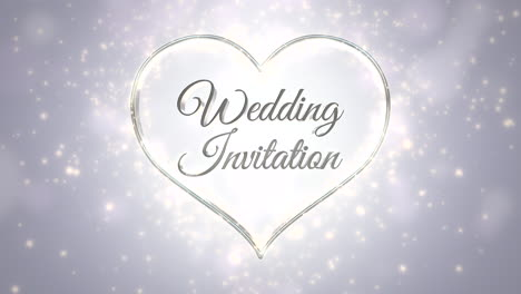 Closeup-text-Wedding-Invitation-and-white-hearts-of-love-with-fly-glitters