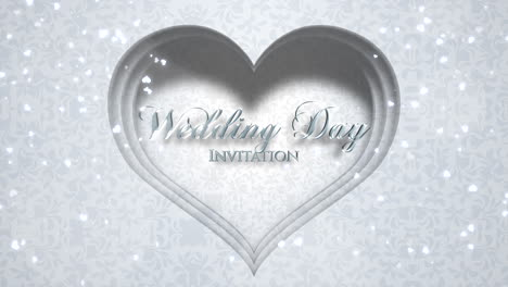 Closeup-text-Wedding-Day-and-white-hearts-of-love-with-fly-glitters