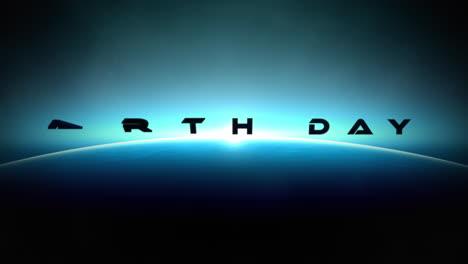 Animación-Primer-Plano-Texto-Del-Día-De-La-Tierra-Con-Movimiento-Cinematográfico-Planeta-Y-Luz-Del-Cometa-En-La-Galaxia