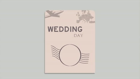 Closeup-Wedding-Day-text-and-passport-with-navigate-compass-and-hearts