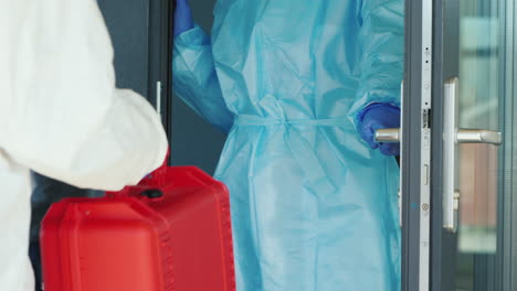 Red-Case-With-Medicines-Delivered-To-Hospital-Door