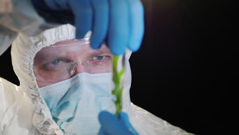 A-researcher-looking-closely-at-a-test-tube-with-a-green-plant-2
