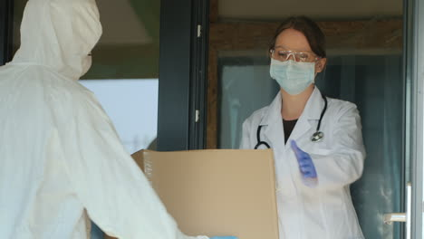 Hospital-Staff-Take-Boxes-Of-Medicine-To-Their-Warehouse