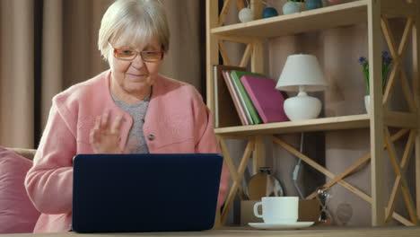 Senior-Woman-Communicates-With-Friends-Via-Video-Link-On-Laptop