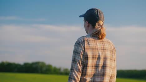 Back-View-:-Female-Farmer-Walks-Among-Wheat-Fields-On-A-Clear-Summer-Day
