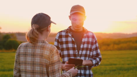 Two-Successful-Farmers-Work-In-A-Field-And-Use-A-Tablet-1
