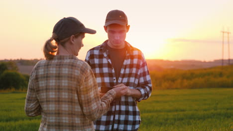 Man-And-Female-Farmers-Work-In-A-Field-At-Sunset-Use-A-Tablet-1