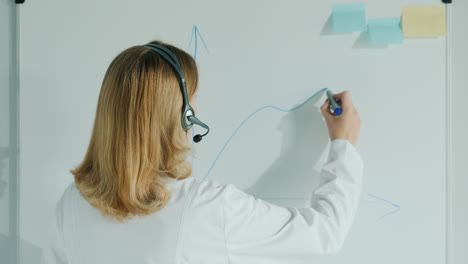 A-Female-Doctor-With-A-Headset-Speaks-And-Draws-A-Graph-On-A-Board