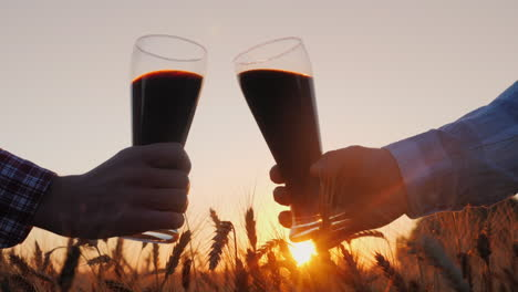 Two-male-hands-clink-glasses-of-beer-at-sunset