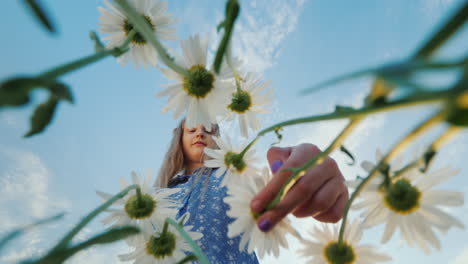 A-carefree-child-plucks-a-daisy-in-a-field